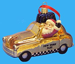 Santa in New York City Taxi Christmas Ornament
