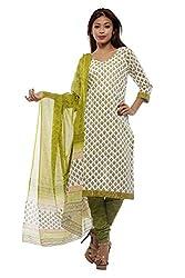 Pinkshink Womens Cotton Unstitched Dress Material (Psk63 _Green)