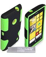 Yousave Accessories NO-KA01-Z416 Coque en silicone pour Nokia Lumia 520 Vert/Noir