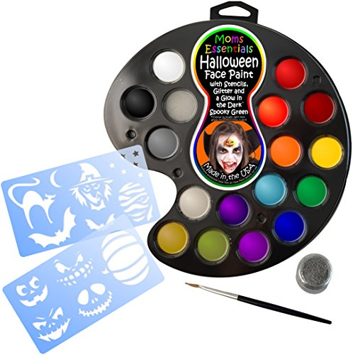 [FACE PAINT & STENCIL HALLOWEEN KIT. All you need for 160+ Facepaints or Tattoos. Easy Online Guide, Hypoallergenic, 16 Colors, Glitter, Glow-in-the-Dark Green, Brush, Sponge & online guide. 100%] (Real Fx Masks)