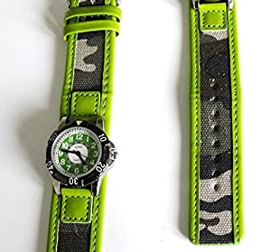 Boys Green Army Watch - 14-18cm Camoflague Strap - Easy Read Time Teacher Face