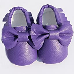 Bow Leather Baby Moccasins for Boy Girl Infant Toddler Pre-walker Crib Shoes (XS(4.5inches), Purple)
