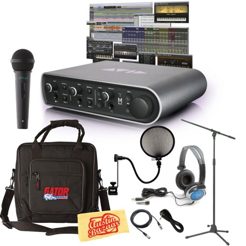 Avid Mbox 3 Audio Interface And Pro Tools Express Bundle With Mic, Gig Bag, Mic Stand, Pop Filter, Xlr Cable, Instrument Cable, Stereo Headphones, And Polishing Cloth