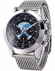 buy Mix&Rock Ks Casual Transocean Automatic Mechanical Day Date 24Hrs Black Mens Wrist Watch