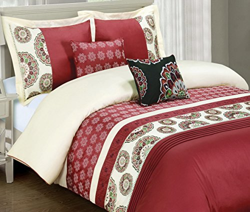 5Pc Contemporary Boho Medallion Ivory/Red Bedding Duvet Cover Set Full/Queen front-1031012