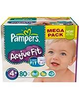 Pampers Active Fit Couches Pack Economique 1 Mois de Consommation x 140 Couches Taille 4+ 9-20 kg