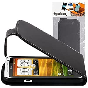 Shop4 Black Leather Flip Wallet Case for HTC One X / X+ Plus Mobile Phone with Screen Protector