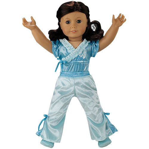 Doll Clothing 3 pc. Doll Jazz Outfit fit for American Girl Dolls, Set Includes Teal Velour Doll Leotard, Jazz Pants and Doll Slippers
