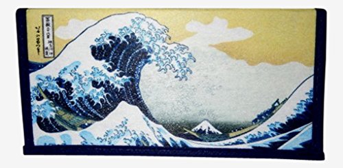 Set of 2 Japanese Rice Paper Wallet or Checkbook Cover Great Wave Off Kanagawa Design Decorative Gift Box Included (Japanese Rice Paper Wallet compare prices)