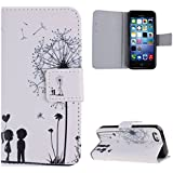 Case for iPhone 5c,Cover for iPhone 5c,Wallet Case for iPhone 5c,Flip Case for iPhone 5c,Case with Stand for iPhone 5c,IFEDA Dandelion Love Boy and Girl Painted White Painted Pu Leather Flip Protective Case Cover with Magnetic Closure Stand for iPhone 5c