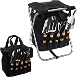 Picnic Time 5-Piece Garden Tool Set w/ Removable Tote & Folding Seat (Black)
