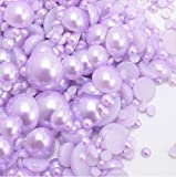 800 pcs Light Purple Color Mixed Sizes Flatback Pearl Cabochon by Lovekitty
