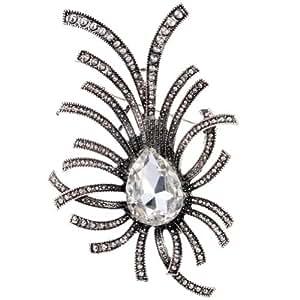 Amybria Vintage Style tibetischen Silber Insect Design Wei? Wasser-Tropfen -Form-Kristall Brosche f¨¹r Frauen