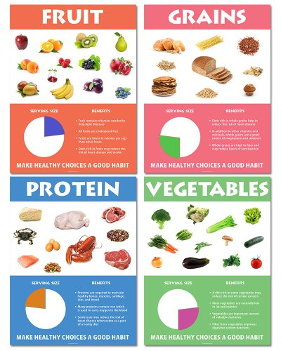 "Nutrition Series - 18"" X 24"" Each - Classroom Poster Series Of Four Posters"