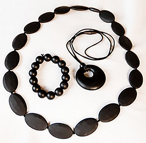 Best Value For Your Money-Silicone Teething Necklace-Black-BPA Free-Set of 3- More Fun for Baby-Satisfaction Guaranteed-Soft Chew Beads-Make Baby Teething Easy and Soothing on Gums-Alternative To Baltic Amber