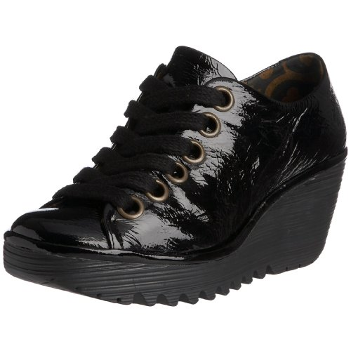 Fly London Women's Yin Lace Up Leather Patent Black P500081008 6 UK