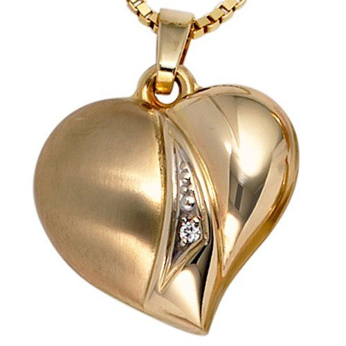 Partially-Matted 333 Gold Heart Pendant Heart with Zircons Pendant Regenbogen