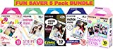 Fujifilm Instax Mini 5 Pack BUNDLE ★ Candy Pop ★ Comic ★ Stripe ★ Shiny Star ★ Airmail ★ 10 sheets X 5 Pack = 50 Sheets! ★BONUS-FREE★ Wiki Deals Colorful Micro Fiber Cloth!