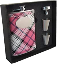 Visol quotValorquot Plaid Stainless Steel Hip Flask Gift Set 8-Ounce Pink