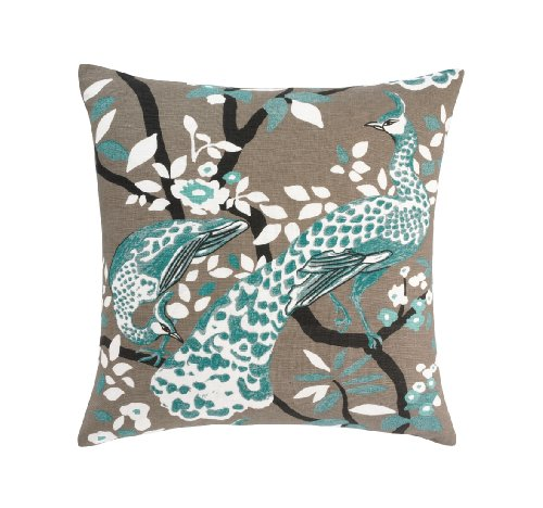 Dwellstudio Peacock Azure Pillow, 20 By 20-Inches front-1040596