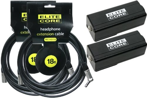 "Elite Core (2 Pack) 18' Headphone Extension Cable (1/4"" Trs - Xlrm) With Wired Body Pack (3.5Mm Fm - Xlrf W/Belt Clip)"