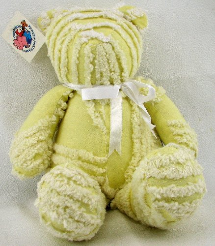 "Chenanimals 100% Cotton Yellow and White Chenille 14"" Teddy Bear - 1"