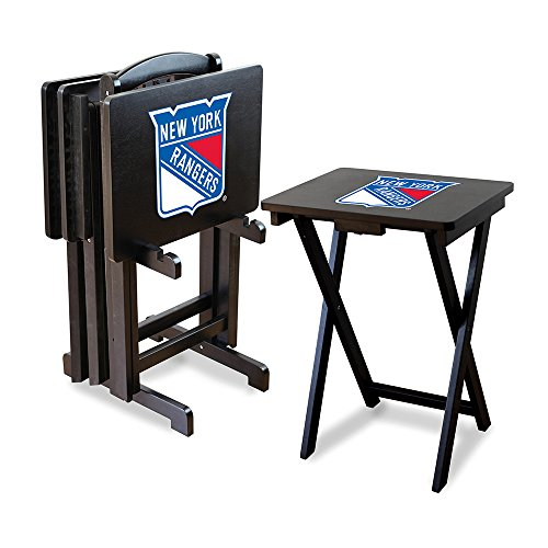 Nhl New York Rangers Tv Snack Trays With Storage Rack (Set Of 4)