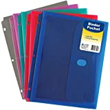 C-Line Super Heavyweight Poly Binder Pocket with Velcro Closure, 1-Inch Gusset, Letter Size, Pack of 36, Assorted Colors (58730)