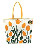Neska Moda Swachh Bharat Floral Print Jute Bag Yellow,White,Green Shoulder Bag-B2