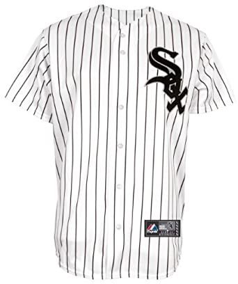 MLB Youth Chicago White Sox Jake Peavy White/Black Pinstripe Home Short Sleeve 6 Button Synthetic Replica Baseball Jersey Fall 2011  (White/Black Pinstripe, Small)