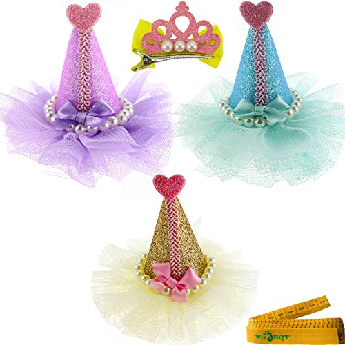3-Pcs-Adorable-Cute-Cat-Dog-Pet-Birthday-Party-Hat-Shaped-Hair-Clips-and-1-Pcs-Crown-Shaped-Clip-for-Kitten-Puppy-Small-Dogs-Cats-Pets