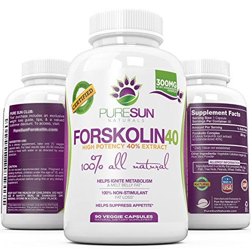 NEW #❶ Strongest 40% FORSKOLIN ★ 90 DAY SUPPLY ★ Strongest Coleus Forskohlii Available at 300mg ● Premium Fat Burner, Carb Blocker, & Appetite Suppressant ● Increases Metabolism, Burns Fat, and Helps Weight Loss ● Purest Supplement Extract Available ● Targets Stubborn Fat In Belly, Thigh, & Arms ● Backed by the Pure Sun Naturals Guarantee ● 90 Capsules