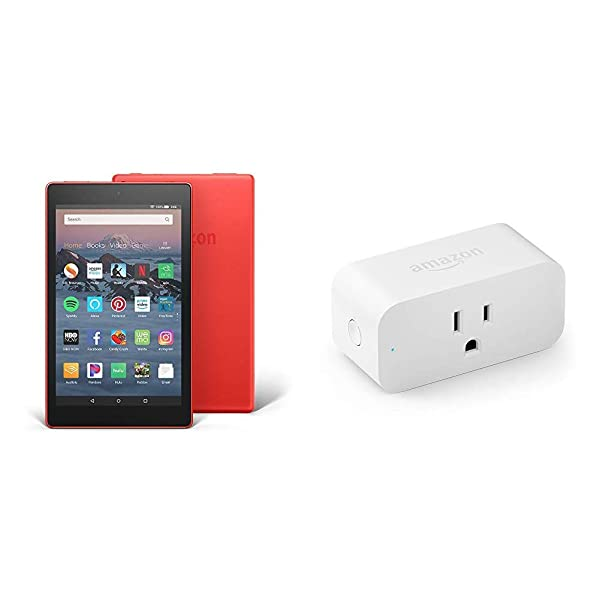 Fire HD 8 Tablet (8 HD Display, 16 GB, Red) with Amazon Smart Plug (Color: Punch Red)