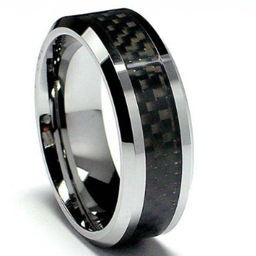 Cheap Tungsten Carbide Mens Ladies Unisex Ring Wedding Band 8MM 5 16 Inch Flat Step Carbon