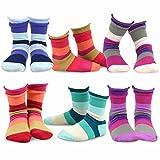 Naartjie Kids Girls Indian Stripe Roll Top Socks 6-pk Crew, 3YR-5YR