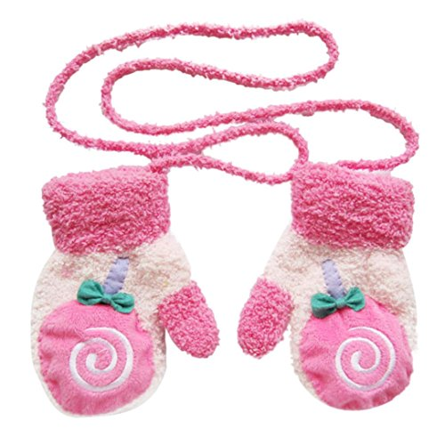 Voberry® Kids Baby Infant Girls Boys Lovely Winter Mittens Plush Line Knitted Gloves with String Cute (Watermelon Red)