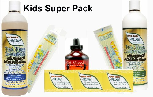 Kids Super Pack - Natural Children'S Toothpaste, Sunshine Soap, Tea Tree Shampoo & Conditioner & Kid Viral Formula