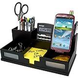 Victor Technology Midnight Black Desk Organizer with Smart Phone Holder