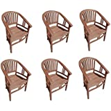 6er Spar-Set Gartenstuhl Sessel aus Teak Holz mit Armlehnen Moreno