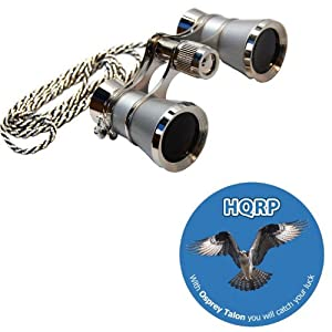 3 x 25 Opera Glasses Platinum with Silver Trim w/ Necklace Chain by HQRP plus Coaster
