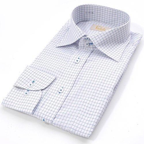 FALCHI NEW YORK(ファルチ ニューヨーク) ファルチ ニューヨークF-W S.BL #18ワイシャツ Falchi New York ワイシャツ本 体:ホワイト/ブルー系 ステッチ:スカイブルー(F-W SBL-18) L(41-86)