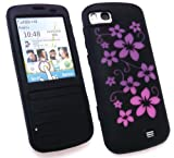 FLASH SUPERSTORE NOKIA C3-01 SILICON CASE/COVER/SKIN FLORAL BLACK/PINK