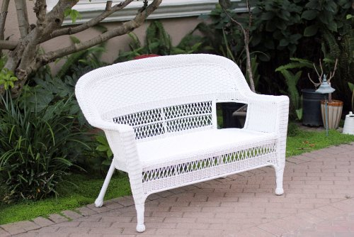 White Wicker Patio Love Seat image
