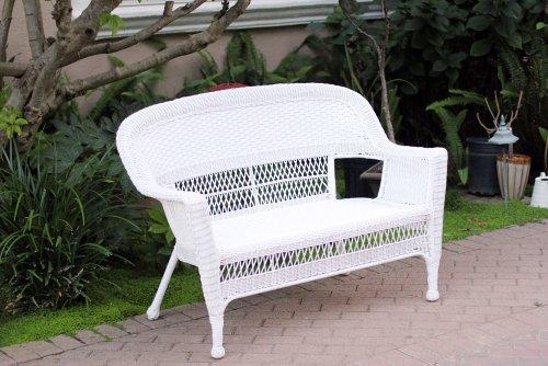 White Wicker Patio Love Seat image