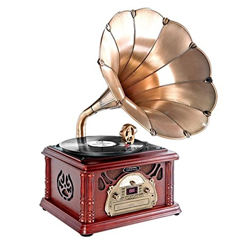 Pyle-Home PTCDS3UIP Classical Trumpet Horn Turntable with AM/FM Radio CD/Cassette/USB & Direct to USB Recording 0