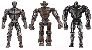 "Jakks Pacific Real Steel Basic 5"" Light up Figure Wave 2 Set of 3: Atom, Zeus, Six Shooter"