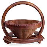 Christmas Gift Wooden Fruit Basket Stand with Handle for Display Storage Folding Collapsible Home Picnic Accessory