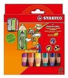 Office Product - STABILO woody 3 in 1 6er Etui mit Spitzer - Multitalent-Stift (aquarellisierbarer Buntstift)e