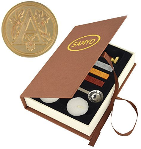 SAMYO Stamp Seal Sealing Wax Vintage Classic Old-Fashioned Antique Alphabet Initial Letter Set Brass Color Creative Romantic Stamp Maker (A) (Wax Seal Vintage compare prices)