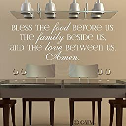 Bless The Food Before Us, The Family Beside Us, And The Love Between Us, Amen vinyl lettering wall decal (Egg Shell, 16.5x47)